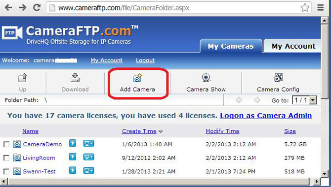 Configure a generic image-recording network camera / DVR to upload