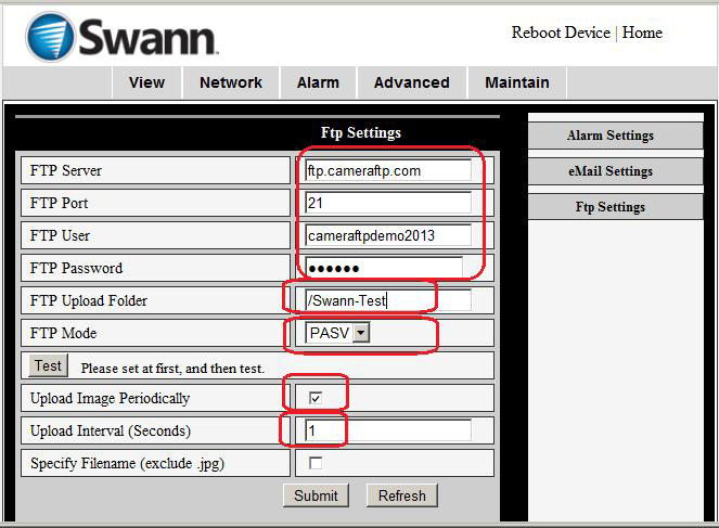Configure Swann network camera to upload video clips or
