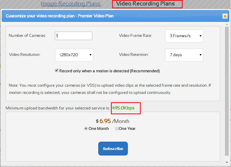 Estimate video stream bit rate with CameraFTP bandwidth calculator