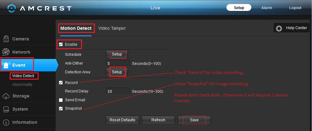 Configure Amcrest network Cameras to upload image snapshots/video