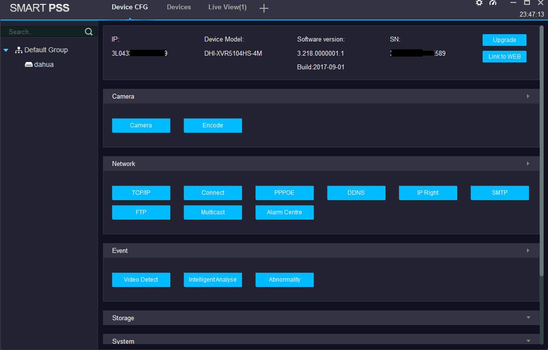 SmartPSS Device configure