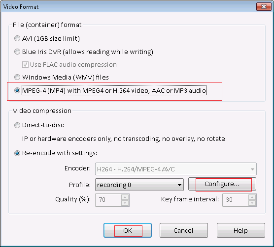 Configure Blue Iris video format