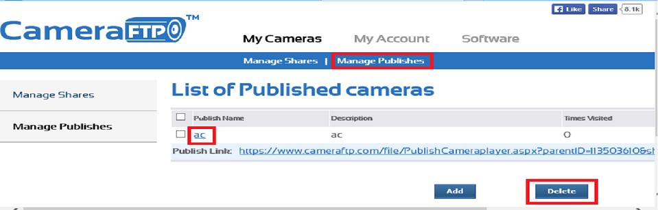 Publish IP cameras, create static camera URLs, display CCTV