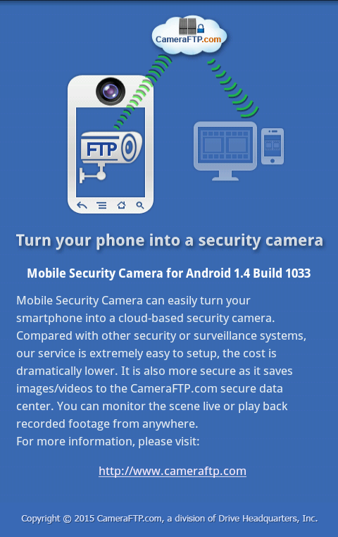 CameraFTP Mobile Security Camera - Use old Android phone/tablet as