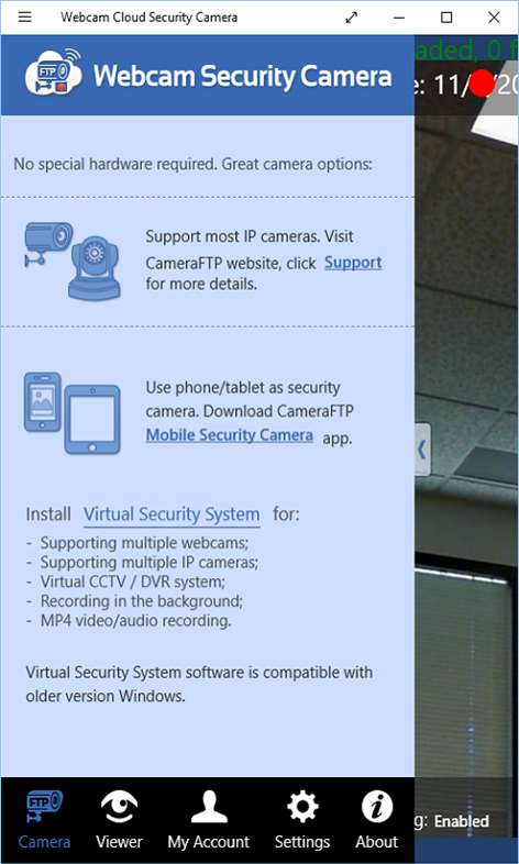 CameraFTP Mobile Security Camera - Use old Windows phone/tablet as