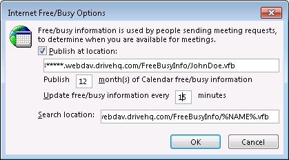 Publish Outlook Calendar (Office 2013) To WebDAV Server?