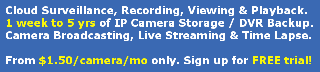 Cloud Surveillance, Recording, Viewing & Playback; IP camera storage, DVR backup, Camera broadcasting, live streaming and time lapse